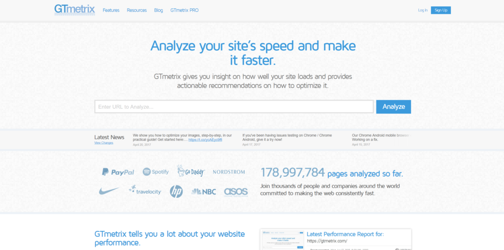 GTmetrix site test for e-commerce SEO