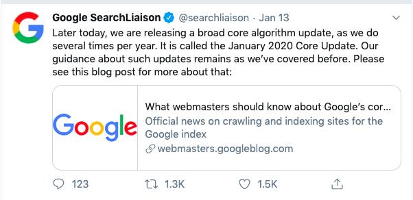 Google Announces the January 2020 Broadcore Algorithm Update